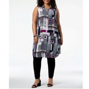 Alfani Plus Size 3X Tunic Top Geometric